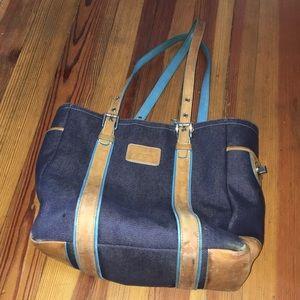 Handbags - Coach denim vintage blue leather tote distressed
